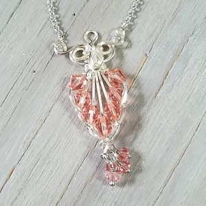 Pink and silver tones wire wrapped necklace
